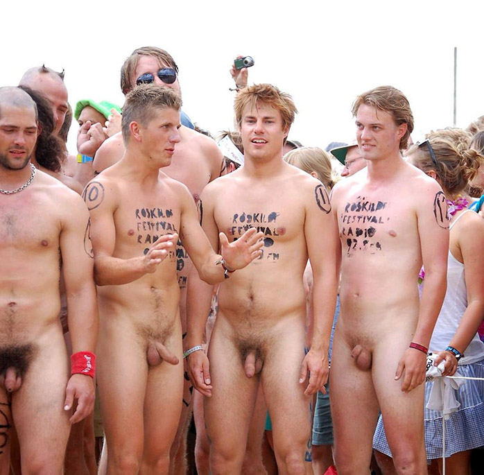 Nude boy and group